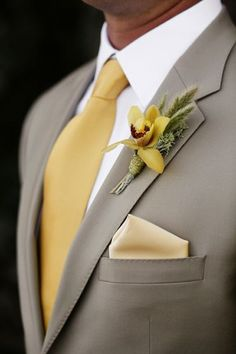 Orchid. Yellow wedding. Beige suit. White men shirt.