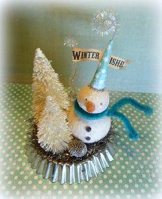 Winter WISHES Vintage Inspired Snowman Folk Art Figurine on Tart Tin Christmas Decoration Cat and Fiddle folk