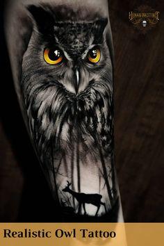 Badass Tattoos, New Tattoos, Hand Tattoos, Sleeve Tattoos, Tatoos, Cool Tattoos, Black And Grey Tattoos, Black Owl Tattoo, Realistic Owl Tattoo