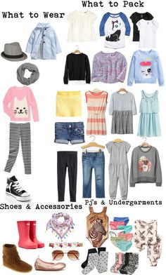 A versatile packing list for a girl ages 4-8. Lots of mix and match outfit choices and layering for changes of weather. To Pack light and travel light with a carry-on. #packinglight #travellight #kidspackinglist livelovesara.com