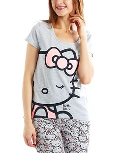 Tee-shirt de nuit 'Hello Kitty' blanc Femme