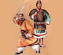 Ilustración representando a guerreros de la etnia Han con sus vestimentas.
