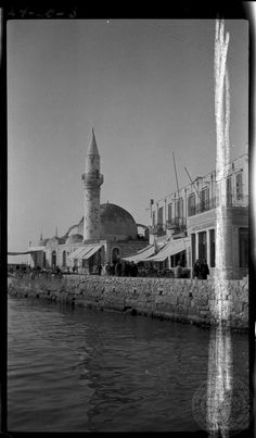 Chania. Harbor....1924 photo: Dorothy Burr Thompson  ASCSA ARCHIVES.. Old Pictures, Old Photos, Vintage Photos, Timeline Photos, Greek Islands, Mosque, Greece, Black And White, Landscape