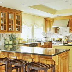 LOVE colors and design of this kitchen