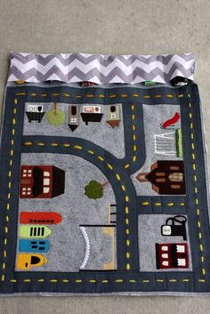Now if only I was talented and could make these! Perfect thing to take to a restaurant! Road themed page for quiet book Sewing Toys, Baby Sewing, Sewing Crafts, Baby Crafts, Felt Crafts, Sewing For Kids, Diy For Kids, Sewing Ideas, Sewing Projects For Kids