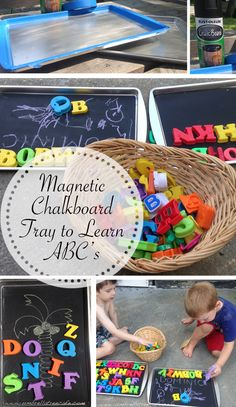 Learn ABC's with a magnetic chalkboard tray you can make with a .99 cookie sheet and chalkboard paint.