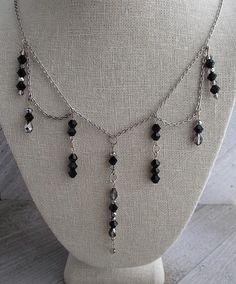 black Victorian necklace, black bib necklace, black crystal necklace, ornate necklace / owlsnroses
