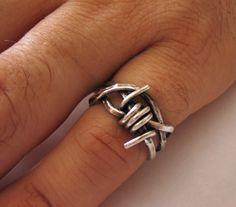 Barbed Wire Ring, Men's Ring, Rocker, Gothic, Punk, Sterling Silver, Unisex Ring, Dark Metal - Nemesis Ring. $112.00, via Etsy.