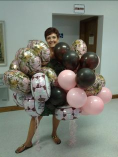 Pink Camo Baby Shower - balloons
