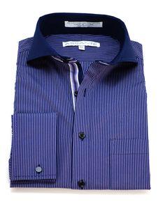 Assante Purple Navy Stripe Cutaway Collar Shirt - Suit Yourself Menswear &…