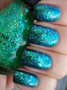 nailXchange: NOTD: Sinful Colors Green Ocean layered over Studio M Ego Trip