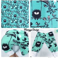 Now available for custom order:  Organic Baby Pants or Onesie in turquoise with Hedgehog on the Swing!