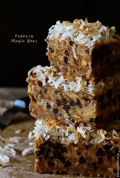 Pumpkin 7 Layer Magic Bars...graham cracker crust, pumpkin, almonds, coconut, apples, chocolate chips & delicious spices.