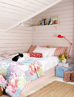 Cottage Attic Bedroom  reminds me of staying over at Grandmas!