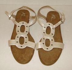Aerosoles womens sandals-Size 9.5-open toe cream satin silver strappy-Free ship #Aerosoles #AnkleStrap