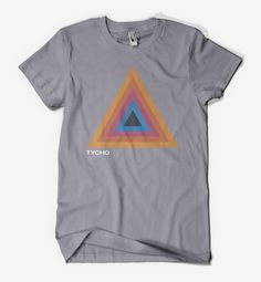 """The new Tycho Delta Shirt is screened on a soft """"Slate"""" American Apparel shirt or """"Vintage Black"""" Bella Canvas Cotton T-Shirt in San Francisco. Men's Sizing Details: Small Medium Large X-Large Chest F"""