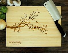 Personalized Cutting Board (Pictured in Natural), approx. 12 x 16 in. Love Birds On A Tree, Names and Date - Wedding gift, Housewarming gift