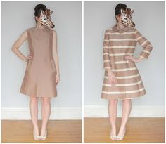 Chic Vintage 60s Mod Brown Sleeveless Sheath Dress and Matching Striped Jacket Set in a Silk Wool Blend by Ardis Kepner | Medium/Large