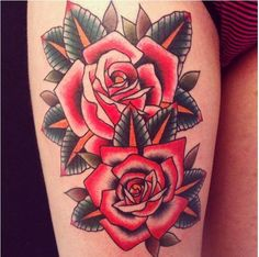 Two roses old school tattoo