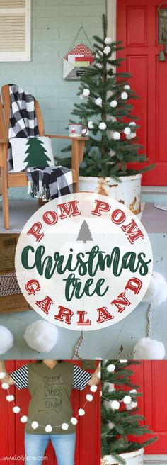 Easy Christmas Porch Decor, from buffalo check to a DIY Christmas pom pom garland, you won't want to miss this!