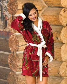 "Realtree Girl Women's Stargaze Realtree AP Cardinal Camo and Cream Bathrobe | Lounge Outfits for women #countrygirl #CountryFashion #countryoutfit drysdales.com ""gifts for cowgirls"" ""gifts for huntresses"" ""gifts for women"" ""cold weather"" hunting hunter bow shotgun white tail deer elk pheasant outdoors woodland camo loungewear warm comfortable"