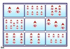 A printable game for up to four players. Base boards all have Christmas theme: snowmen, presents, Santas and baubles. The game has cards allowing you to match the base board images to numerals, number words or simple addition calculations, allowing for variation and differentiation with different groups.