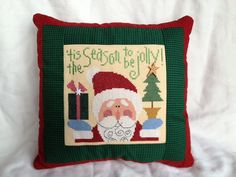 Lizzie Kate - Christmas Cross Stitch Pillow - Tis the Season