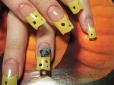 Cheese nails, with a tiny mouse nibbling at one of them. How disgusted with your nails do you have to get to have this done??