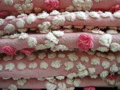 Vintage Chenille Tuft Pink White