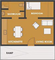Plano de Casa de 1 dormitorio y 45 metros cuadrados : Planos de casas y departamentos gratis
