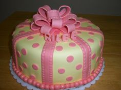 yellow and pink cake for shower