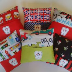 Choice of boyars fabrics for Tooth Fairy Pillows bought to you by www.thumbsie.co.uk