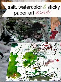 Prints made from a salt and watercolor art project for kids.