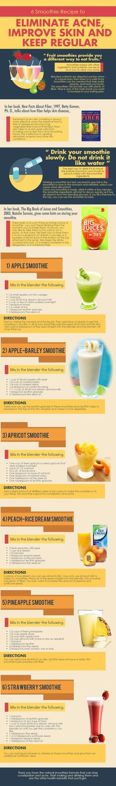 Fruit smoothies provide you a different way to eat fruits. Smoothies mixed with other ingredients and nutrients can serve as a way to clear your acne and provide nutrients to clear constipation. So, here are the six smoothie recipes you can blend...