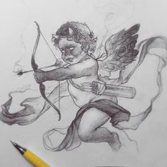 """Cupid 😈 What if cupid was actually a demon, filling someone with the emotion of """"love"""" and drowning out who they are in the process? Art Inspo, Kunst Inspo, Cupid Tattoo, Cherub Tattoo, Art And Illustration, Illustrations, Dark Art Drawings, Drawing Sketches, Cupid Drawing"""