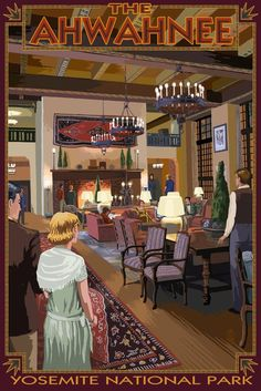 Yosemite National Park, California - The Ahwahnee Lobby (36x54 Giclee Gallery Print, Wall Decor Travel Poster) -- Trust me, this is great! Click the image. : Kitchen Table Linens