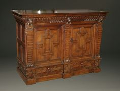 Circa 1650, this buffet is one of our oldest cased furniture pieces in our collection. The Europeans held oak in very high esteem due to its durability and wonderful grain variations. As a hard wood, oak was difficult to carve, so pieces like this buffet were prized for the skill of the craftsman. Lean more about this antique on our website. #antiques #buffets