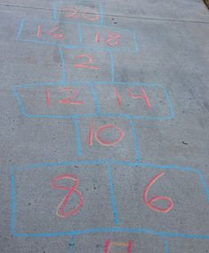 "Make a ""Doubles Fact"" Hopscotch game.  Activities to do with Sidewalk Chalk. Kathy Griffin's Teaching Strategies"
