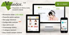 Venedor is a Premium Responsive Magento theme with advanced admin module. It's extremely customizable, easy to use and fully responsive. Suitable for every type of store. Great as a starting point for your custom projects. This theme includes several extensions including one page checkout, ajax price slider and ajax cart that will help you improve your sales. On the main page you can quickly show their best products and brands. Venedor is extremely beautiful on mobile devices.