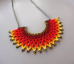 Peyote beaded Red Ombre Mexican HALF MOON Necklace handmade by Luciana Lavin by LucianaLavin on Etsy Half Moon Necklace, Seed Bead Necklace, Short Necklace, Beaded Collar, Beaded Choker, Collar Necklace, Beaded Jewelry Patterns, Handmade Jewelry Designs, Handmade Necklaces