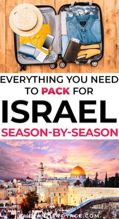 Wondering What To Pack For Israel? We've Got Your Israel Packing List For Every Season, Along With Weather, Jerusalem Dress Code Issues And More. Snap To Read Now And Pin It For Later Packing Tips For Vacation, Travel Packing, Asia Travel, Vacation Trips, Suitcase Packing, Vacation Travel, Packing Lists, Disney Travel, Beach Travel