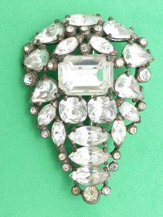 Eisenberg Original large clear rhinestone brooch Z24 #Eisenberg