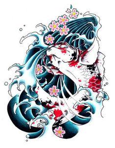 Japanese  Fish Tattoos on Japanese Koi Fish Tattoo Flash