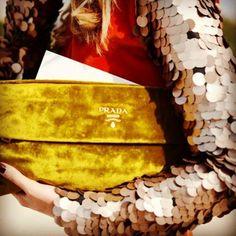 Mustard yellow velvet Prada clutch paired with a sequined blazer, love love love!