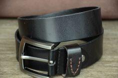Men Belt / Black Cowhide Leather Belt / Classic Belt / Durable Leather Beltby SherryJewelry, $27.00