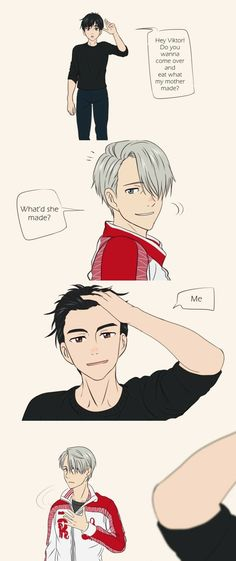 Yuuri, Viktor, comic, funny, eat, mother; Yuri!!! on Ice