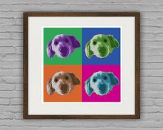 Items similar to Warhol Style Pop Art Pet Portrait From Your Photos - Custom Pet Portrait - Digital File - Size: on Etsy Warhol, Pet Portraits, Etsy Store, Your Photos, Pop Art, Pets, Frame, Style, Picture Frame