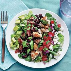 Southwestern Cobb Salad Recipe | forgot the bacon. Substituted spinach instead of romaine, and feta instead of queso fresco and sooooo good. Went be at on the avocado and added sweet pepper. Corn would also work nice with this
