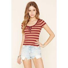 Forever 21 Women's  Striped Lace-Up Tee ($13) ❤ liked on Polyvore featuring tops, t-shirts, lace up top, lace up t shirt, striped t shirt, stripe t shirt and white tee