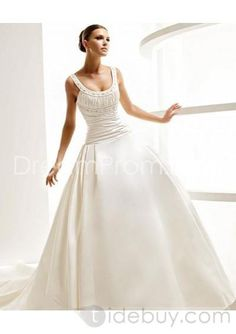 Satin Beaded Scoop Neckline with Rouched Bodice and Ball Gown Skirt 2010 Wedding Dress WD-0075 love the top not the bottom